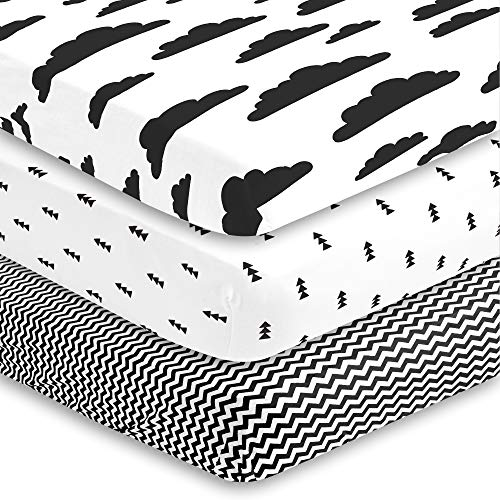 BaeBae Goods Crib Sheets for Baby Boys and Girls, 3 Pack, Soft and Breathable Jersey Cotton Fitted Sheet Set, Black and White, Cute Gender Neutral Nursery Mattress Bedding, Universal Fit