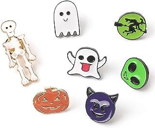 7pcs de Halloween de la solapa de dibujos animados pin collar de calabaza fantasma divertido ramillete broche del partido ...