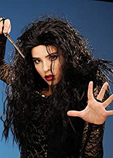 Struts Fancy Dress Bellatrix LeStrange Style Brown Curly Wig