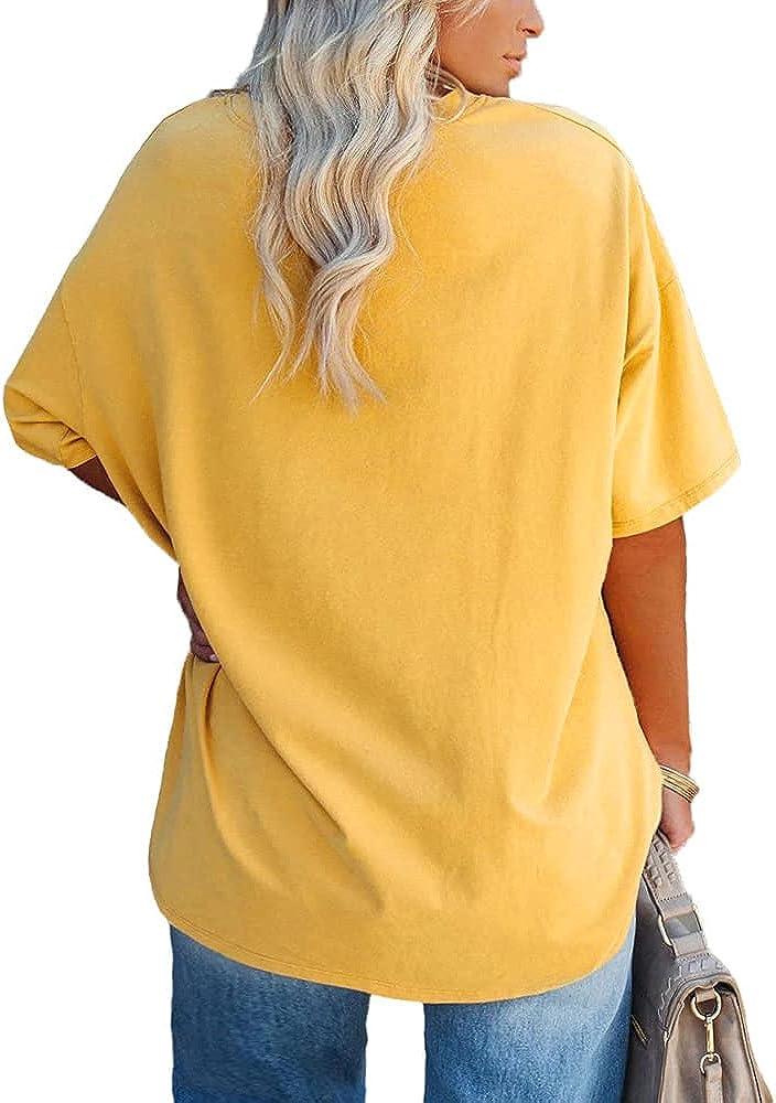 Fisoew Women's Plus Size T Shirts Oversized Tees Summer Half Sleeve Crew Neck Tunic Tops
