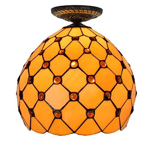 Tiffany Style plafondarmatuur Lamp Glazen kralen Semi-Flush 12