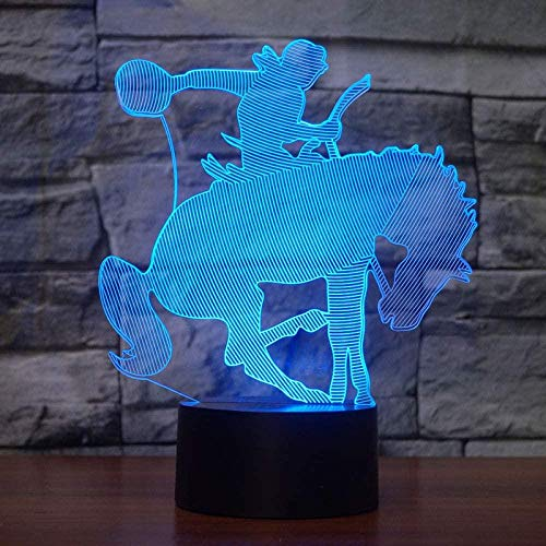 Kridehorsehape Gradientwitchupportusbremotes Cute Children 3D Illusion Lamp Suitable For Boys And Girls Bedroom Bar Living Room Birthday Christmas Gifts Usb Charging Touch Mode 7 Color Variations