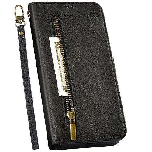 Ysimee Compatible avec Samsung Galaxy A70 Coque Cuir Rétro Portefeuille Magnetique Etui Wallet Case avec Fentes de Cartes Poche avec Fermeture à Glissière Housse de Protection,Noir