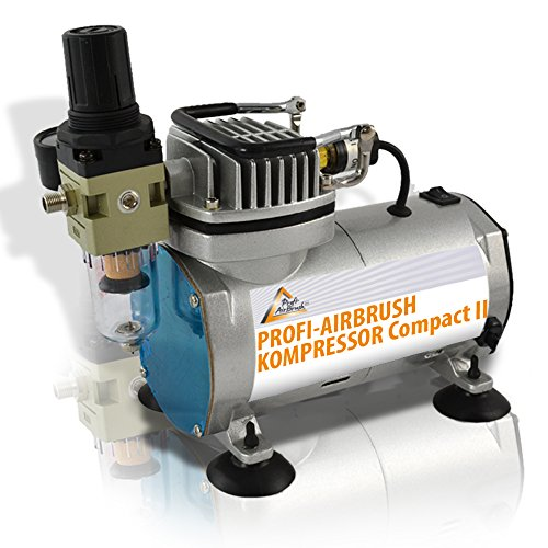 AMUR Airbrush Kompressor zum Schnäppchenpreis, Airbrushkompressor f. Anfänger/Fortgeschrittene f. individ. Airbrush-Set, mit Manometer, Vorfilter-Wasserabscheider für Airbrush Farbe