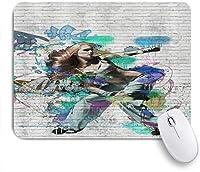 EILANNAマウスパッド ヒップホップガールグラフィティ ゲーミング オフィス最適 高級感 おしゃれ 防水 耐久性が良い 滑り止めゴム底 ゲーミングなど適用 用ノートブックコンピュータマウスマット