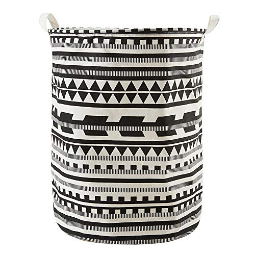 Kanggest Patrón Patrón geométrico Cubo plegable de lino y algodón cesta para...