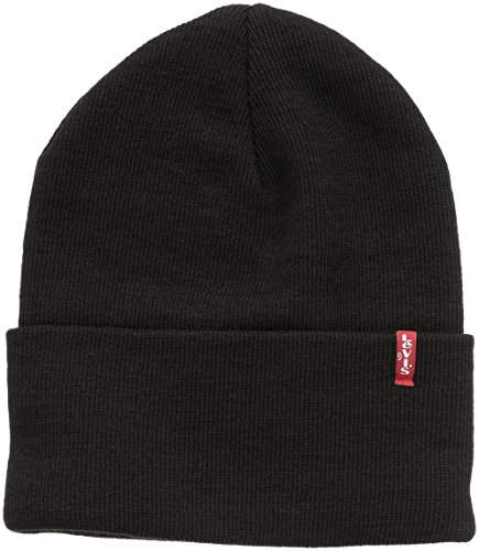 Levi\'s Unisex New Slouchy Beanie W Red Tab Detail Strickmütze, Schwarz (Black), One size