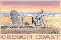 メタル サイン オレゴン コースト アディロンダック ビーチ メタル アート プリントの椅子 レトロな家の壁の装飾錫金属ギフト装飾ヴィンテージプラーク