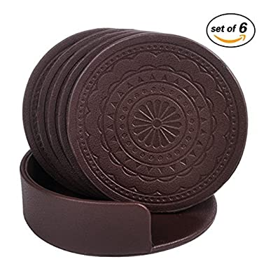 Coasters for Drinks,PU Leather Coasters Set of 6 with Holder for Coffee Tea Cups Mugs Round Brown
