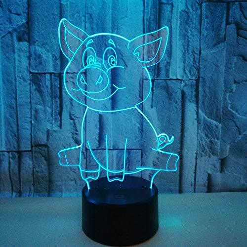 3D Veilleuse Enfant LED Lampe de Chevet Optiques Illusions Lampe de Nuit 7 Couleurs Ajustables Câble USB Cadeau Jouets (Porcin),Interrupteur Tactile