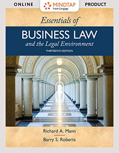MindTap Business Law, 1 term (6 months) Printed Access Card for Mann/Roberts' Essentials of Business Law and the Legal E