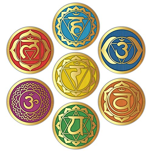 Seven Chakra Wall Stickers - (Set of 7) 6' Large Round Vinyl Decals for Yoga Meditation Room Art Decor