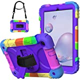 Samsung Galaxy Tab a 8.4 2020 Case with Hand Strap | AVAKOT Sm-T307/Sm-T307U Case W/Shoulder Strap Rotating Kickstand | 3 Layer Heavy Duty Shockproof Silicone Cover for Galaxy Tab a 8.4 Inch | Purple