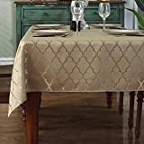 Jacquard Tablecloth Flower Pattern Polyester Table Cloth Spill Proof Dust-Proof Wrinkle Resistant Table Cover for Kitchen Dining Tabletop Decoration (Rectangle/Oblong, 60' x 84' (6-8 Seats), Gold)
