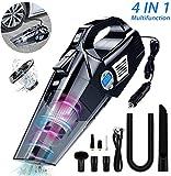 VEEAPE Car Vacuum Cleaner, 4 in 1 Portable Handheld Vacuum Cleaner/Tyre Inflator Air Compressor/Tyre Pressure...