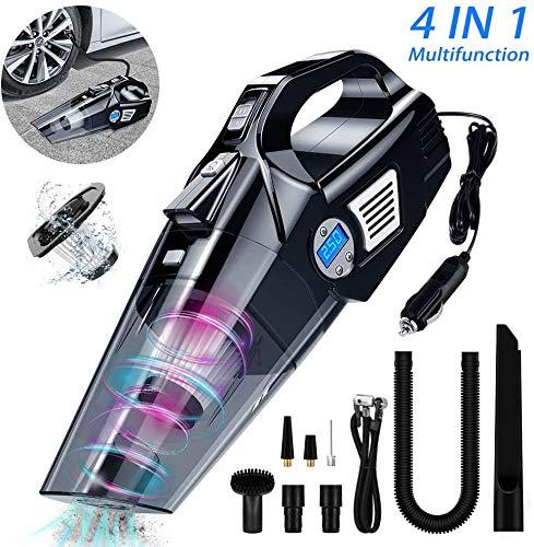 VEEAPE Aspiradora de coche, 4 en 1 portátil de mano, compresor de aire, medidor de presión de neumáticos/luz LED, 6 KPA Wet Dry Hoover con potente succión, DC 12 V para neumáticos de coche y bolas