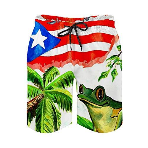 Gdewcro Vintage Puerto Rico Flag Tree Frog Herren Sommer Badehose Quick Dry Boardshorts Strandshorts mit Mesh-Futter - - X-Groß