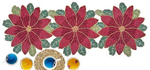 Glitz sequin & Beads table runner 13x36 Maroon Green Multi,Beaded Table Runner,Decorative Table Runner,Farmhouse Table Runner in Beads,Rustic Table Runner,Christmas Table Runner in Beads Decorations