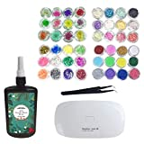 250ML Cristal Époxy Résine UV Colle, 1 Pcs Mini UV LED Lampe, 1 Pcs Tweezer 4 Kit Ensemble de Fleur Shell Pieces Paillettes...