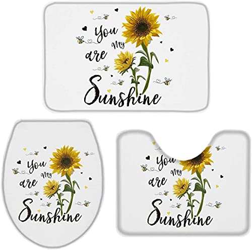 3 Pieces Bathroom Rugs and Mats Sets, Non Slip Water Absorbent Bath Rug, Toilet Seat/Lid Cover, U-Shaped Toilet Mat, Home Decor Doormats - Watercolor Sunflower Bee on White Back Farm Style