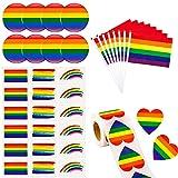 318 PCS Conjunto de orgullo gay del arco iris, 30 banderas de palo de mano LGBT pequeñas, 30 tatuajes de orgullo gay, 1 rollo de la etiqueta engomada del arco iris del corazón y 8 alfileres de botón d