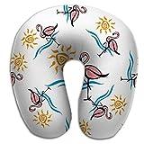 Almohada en Forma de U Cuello Almohada Multifuncional Patrón sin Costuras Flamingo Sea Sun Tropical Summer Flamingo Sea Sun Tropical Vintage PLW-735