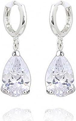 Crystalline Azuria - Orecchini a goccia da donna, con confezione regalo, placcati in oro 18 carati, cristallo nero, rubino, citrino, viola, verde smeraldo o bianco
