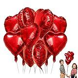 LIZHIGE Herz Folienballon, 25 Stück Herz Helium Luftballons Herzluftballons Heliumballon Folienballon Hochzeit Folienluftballon Geeignet für Geburtstag Brautdusche Valentinstag(Rosegold-25pcs) (Red)