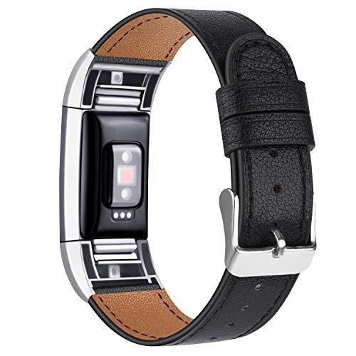 Tobfit Kompatibel für Fitbit Charge 2 Armband, Klassische Echtleder-Armband-Metallverbinder für Fitbit Charge 2 (Kein Uhr) (09 Schwarz, 5.5