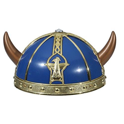 Amakando Casco vikingo para nios, casco de los Barbaren, color dorado y azul, casco vikingo para nios, casco vikingo, disfraz de carnaval, accesorios medieval, guerrero, gorro, casco de Alemania