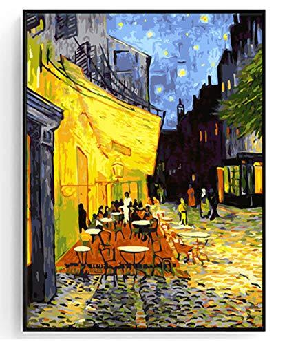 Weltberühmtes Ölgemälde nach Zahlen auf Leinwand Die Cafe-Terrasse am Place du Forum Arles in der Nähe von