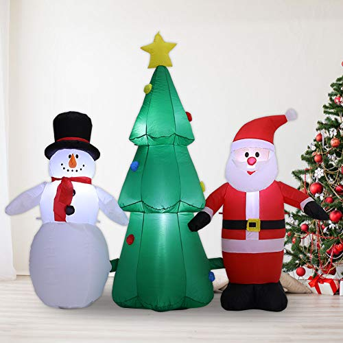 Warmiehomy Inflatable Christmas Tree Santa Claus and Snowman Xmas Decorations with LED lights for Outdoor Indoor Commercial Home Garden Yard Holiday Party