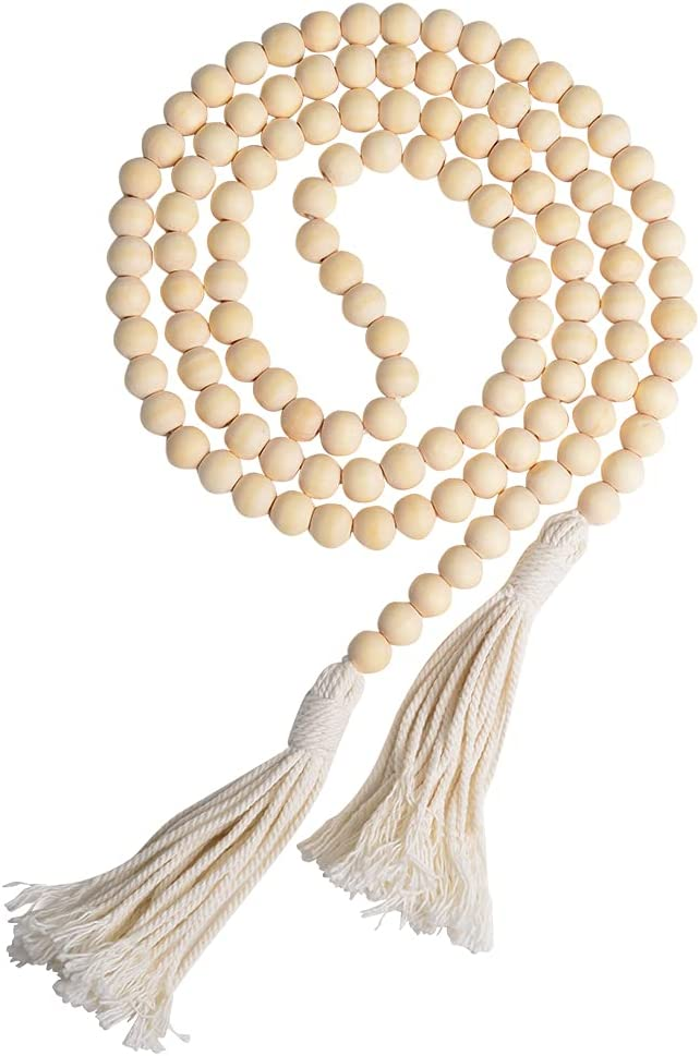 Wood Bead Garland with Jute Tassel, Rustic Wooden Bead Decor, Farmhouse Home Wall Hanging Decoration