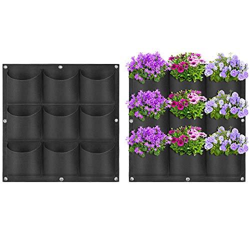 Yuccer 9 Taschen Pflanztaschen Hängend, Wachsende Tasche Pflanzgefäße Taschen für Draussen Blumen Kartoffeln Tomaten und Erdbeeren (schwarz)