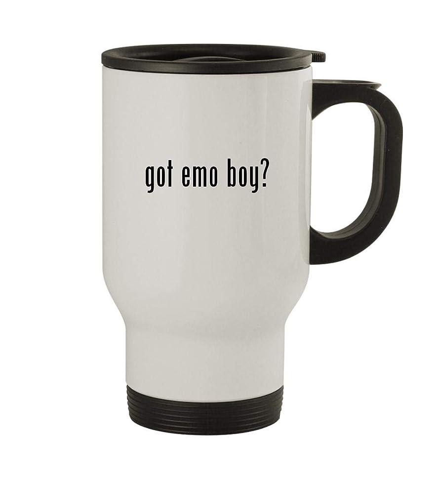 got emo boy? - 14oz Sturdy Stainless Steel Travel Mug, White