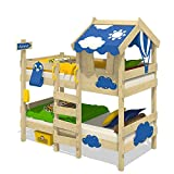 Wickey Bunk bed CrAzY Daisy Children's bed Loft bed with roof, window, climbing ladder and slatted bed base