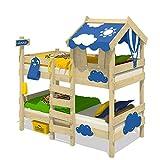 WICKEY Letto a castello CrAzY Daisy Letto per bambini con tetto, finestra, scaletta di ris...