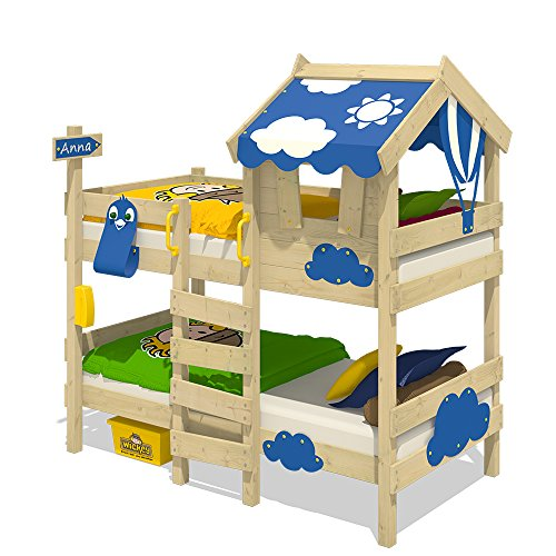 WICKEY Etagenbett CrAzY Daisy Kinderbett Hochbett mit Dach, Fenster, Kletterleiter und Lattenboden, blaue Plane, 90x200 cm