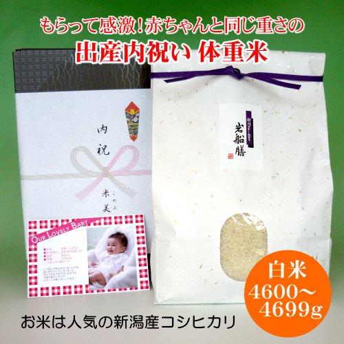[出産内祝い]赤ちゃんの体重米 4600〜4699グラム 写真・メッセージ入り 新米 平成29年産 新潟県産コシヒカリ