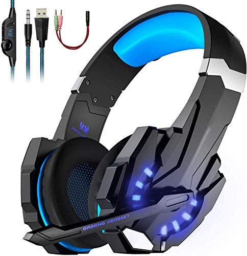 OCDAY Gaming Headset PS4 G9000 mit Mikrofon, Audiokabel, Stereo-Audio-Bass und LED-Taschenlampe PC Gaming Headset für PS4/Xbox Ones/Nintendo Switch etc.