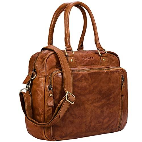 STILORD 'Amilia' Businesstasche Damen Leder Vintage Aktentasche mit 13,3 Zoll Laptopfach für MacBook große Umhängetasche aus echtem Rindsleder, Farbe:Ocker - braun