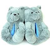 Sofia's Teddy Bears Slippers mulpity Color, big Slippers Teddy Bear Size 5-11 (Grey)