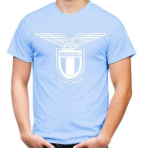 Irriducibili Lazio Männer und Herren T-Shirt   Fussball Ultras Geschenk   M1 Front (L, Skyblau)