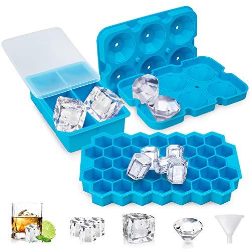 UOON Eiswürfelform,3 Stück Silikon Eiswürfelbehälter mit Deckel BPA-Frei,Diamant Eiswürfelschalen+Quadratischen Eiswürfel Form+Bienenwabe Ice Cube Tray für Whisky,Cocktail,Saft,Babynahrung,Himmelblau