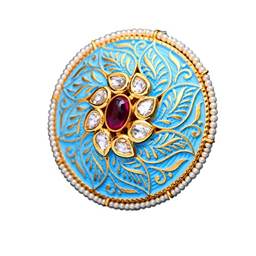55Carat Elegant Cocktail Ring 18K Gold Plated Blue Enamel Meena Work Glided with Uncut Polki Kundan and Pearls Circular Finger Ring for Girls Women Ladies