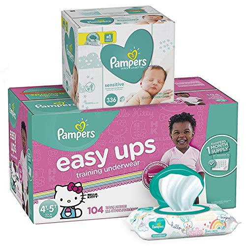 Pampers Bundle - Easy Ups Training Underwear Pull On Disposable Diapers for Girls, Size 6 (4T-5T), 104 Count, ONE MONTH SUPPLY with Baby Wipes Sensitive 6X Pop-Top Packs, 336 Count