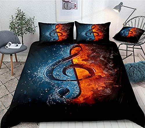 Funda de edredón tamaño king 220 x 230 cm, agua y fuego, efectos especiales con símbolo de música para niños, juego de cama de matrimonio, funda de edredón 3D, funda de edredón para dormitorio