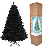 SHATCHI 7ft Alaskan Pine Black Christmas Bushy Looking Artificial Tree with Metal Stand...