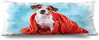 Ahawoso Zippered Body Pillow Cover 20x54 Inches Drawing Playing Dog Jack Painting Texture Russell Terrier Red Tattoo Animals Ear Laying Wildlife Decorative Cushion Case Home Decor Pillowcase