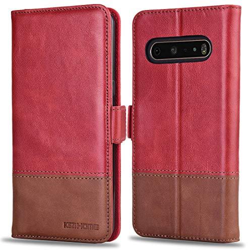 KEZiHOME LG V60 ThinQ Hülle, Echtleder [RFID-blockierend] LG V60 ThinQ 5G Brieftaschen-Schutzhülle mit Kartenfach, Standhalter, Magnetverschluss für LG V60 ThinQ 2020, rot / braun